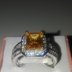 Yellow citrine size 8 ring 925 Silver new